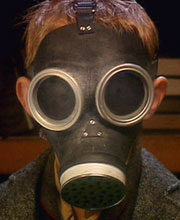 Jamie in gas mask